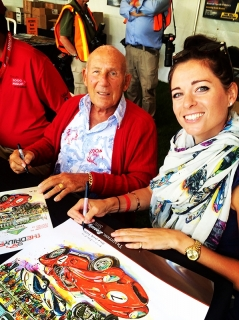 Signing Lime Rock Posters with Sir Stirling Moss