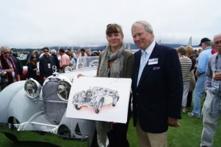 Dr.Wolfgang Porsche with his Austro-Daimler painting